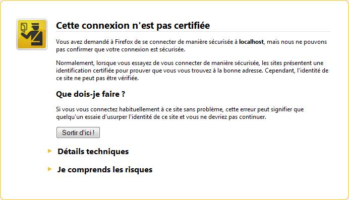 message d'erreur Mozilla Firefox